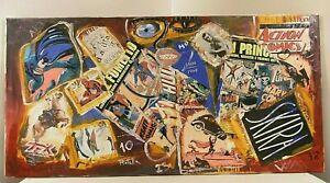 MIMMO ROTELLA Opera Olio Sovrapittura Pop Art FUMETTI 2004 COLLAGE SU TELA 40x80