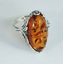 Baltic Oval Amber Ring in Sterling Silver Classic Scroll Design S-8