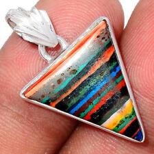 Rainbow Calsilica 925 Sterling Silver Pendant Jewelry BP86336