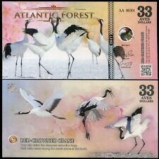 Atlantic Forest 33 Aves Dollars Red Crowned Crane 2017 Unc