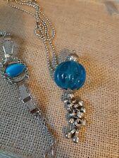 Ethnic Style Blue Pendant Necklace And Bracelet
