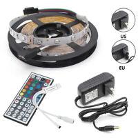 5M 300Leds SMD RGB LED Strip Light Kit 12V 2A Adapter 44Key IR Remote for Home