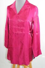 Chico's Long Sleeve Button Down Shirt M 8 Pink Fuchsia Rayon NEW