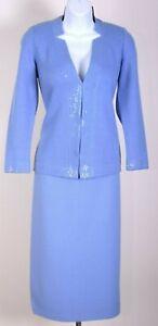 ST.JOHN Evening Womens Suit Knit Blue Sequins Trim Jacket & Skirt Sz 2-4