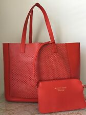 NWT Vittoria Napoli Italy Leather Red Carminio Laser Perforated Bag Purse Tote