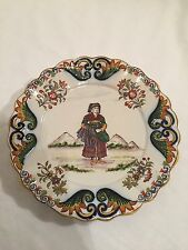 Vintage Antique Continental Faience Plate, Signed JJ
