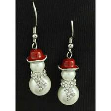 White Pearl Snowman with Clear Crystal Scarf Christmas Earring