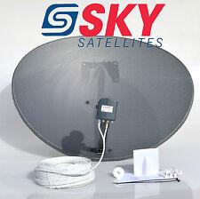 Zone 2 Sky Freesat Satellite Dish & MK4 Octo Lnb + 50M White Twin Coax Cable Kit