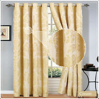 Luxury Jacquard Curtains Eyelet Ring Top / Pencil Pleat Fully Lined Pair Curtain