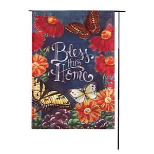 Welcome Bless this home Polyester Garden Flag House Double-sided Decor  P