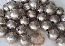 Vintage Perle Argent Massif Ancien Bijou Collier 18mm Antique Ethnic Silver Bead