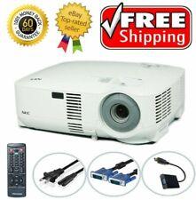 Nec VT590 LCD XGA Projector 2000 ANSI HD 1080i HDMI-adapter w/Remote, VGA Cable