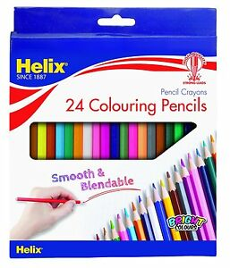 COLOURING PENCILS by HELIX- Wallet of 24 - Adult Colouring Pencils