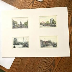 4 Matted Small Prints of Rotterdam Netherlands Traditional Drawings City Scenes
