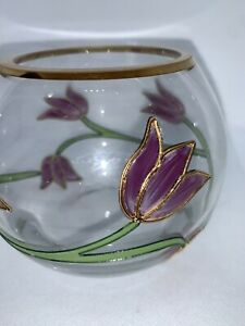Hand-painted Round Glass Vase With Pink Flowers And Gold Trim