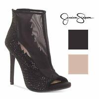 Jessica Simpson Womens Radko Mesh Leather Hotfix Stone Shooties