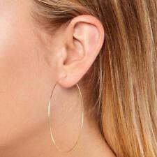 "Big 2mm X 50mm 2"" Large Plain All Polished Shiny Hoop Earring  14K Yellow Gold )"