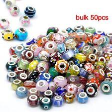Wholesale 50Pcs Multi Bulk Murano Glass Beaded Charms Spacer Beads For Bracelet