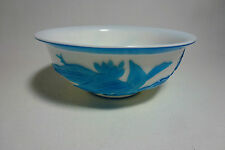 Chinese Antique Peking Glass Blue Overlay White Bowl Excellent Carving of Flower