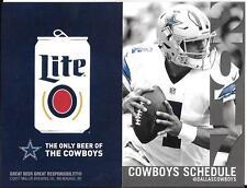 2017 NFL Dallas Cowboys official pocket schedule Dak Prescott MIller Lite