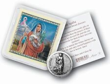 St. Agatha (patron saint against breast cancer) pocket coin with 3 prayer cards