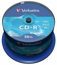 VERBATIM CD-R 700 MB 52x Velocità 80MIN REGISTRABILI CD-R DISCO SPINDLE PACK 50 (43351)