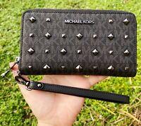 Michael Kors Jet Set Travel Large Phone Case Wristlet PVC MK Grey Black Studded