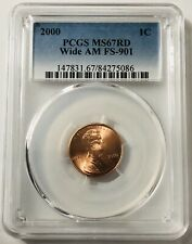 Wide AM 2000 Lincoln Cent Penny MS67 PCGS