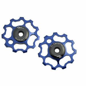 OMNI Racer 9 & 10 Speed TiN Ceramic Derailleur Pulleys Dura Ace Ultegra, XT BLUE