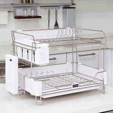 Korea Innokha Dish Drying Rack 2Tier White Stainless Steel ABS Detachable Hooks