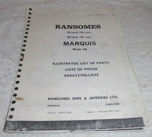 Reprint 1972,Ransomes Marquis Mark 4A Motor Mower illustrated list of parts
