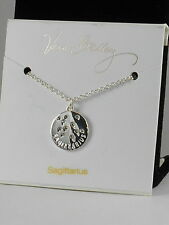 Vera Bradley Silver SAGITTARIUS Crystal Zodiac Constellation Disc Necklace 15510