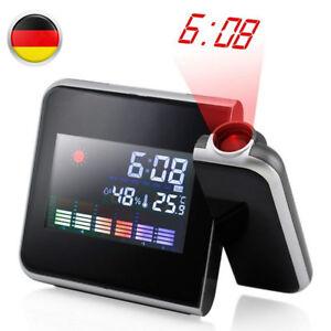 LCD Radiowecker Snooze Datum Temperaturanzeige Alarm Tischuhr mit Projektion DE