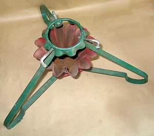 "17"" Vintage Red Green Metal Christmas Tree Stand Holder Adjustable Locks FREE SH"