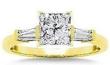 1.01 carat Princess cut Diamond Engagement Wedding Ring 14k Yellow Gold 1.25 tcw