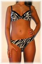 NEW w/tags! Tryst Black & White Zebra Print Bra & Panty Set 34B - Medium