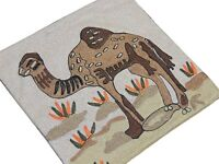 Camel Embroidered Throw Pillow Eclectic Designer Decor Square Accent Cushion