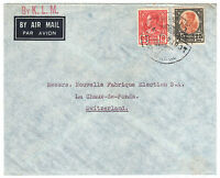 1939 Thailand Siam Airmail Cover from Bangkok to La Chaux-de-Fonds Switzerland