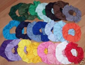 Hair Scrunchie Cotton Fabric Red Pink Blue Green Purple Scrunchies by Sherry
