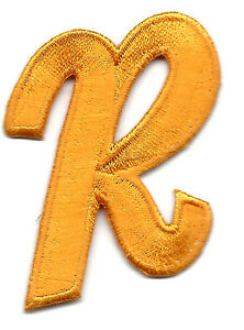 """LETTERS  -Golden Yellow Script  2"""" Letter """"R"""" - Iron On Embroidered Applique"""