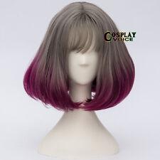 35CM Lolita Gray & Magenta Ombre Bob Wavy Cosplay Wig Heat Resistant Thin Bang