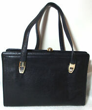 Koret Saks 5thAve Vintage Black Leather KissLock Handbag 2Side Comp.+Red Coin Bg
