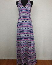Anthropologie The Addison Story Juxtapose Maxi Dress XS Pink Blue Zigzag Jersey