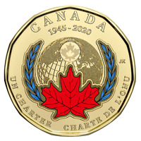 2020 Canada 75th anniversary of UN Charter COLOURED $1 Loonie