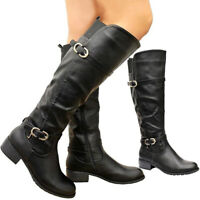 Ladies Women Faux Leather Flat Heels Long Riding Calf Knee High Boots Shoes Size