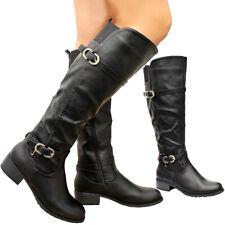 Damas Mujeres Cuero Sintético Tacones Planos Largo Pantorrilla Equitación la rodilla Botas altas Zapatos Talla