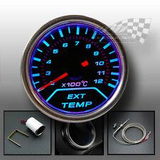Temperatura de escape calibre ahumado esfera azul LED de iluminación interior 52mm Dash