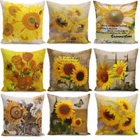 Oil painting Throw sunflower Pillow Case Cotton Linen Cushion Covers Decorative