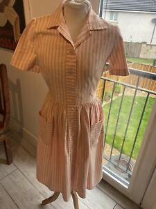 VINTAGE 50's PINK & WHITE STRIPE SHIRT STYLE TEA DRESS UK 8 SMALL