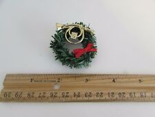 Dollhouse Miniature - Wreath with Red Bow and Gold French Horn
